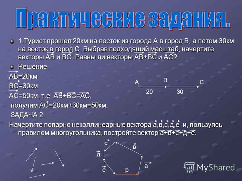 1.Турист прошел 20км на восток из города А в город В, а потом 30км на восток в город С. Выбрав подходящий масштаб, начертите векторы АВ и ВС. Равны ли векторы АВ+ВС и АС? Решение.АВ=20кмВС=30км АС=50км, т.е АВ+ВС=АС, получим АС=20км+30км=50км. получи