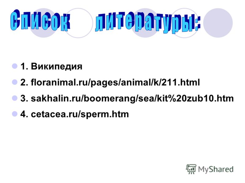 1. Википедия 2. floranimal.ru/pages/animal/k/211.html 3. sakhalin.ru/boomerang/sea/kit%20zub10.htm 4. cetacea.ru/sperm.htm