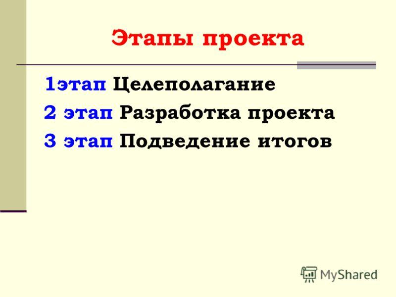 Этапы проекта 1этап Целеполагание 2 этап Разработка проекта 3 этап Подведение итогов