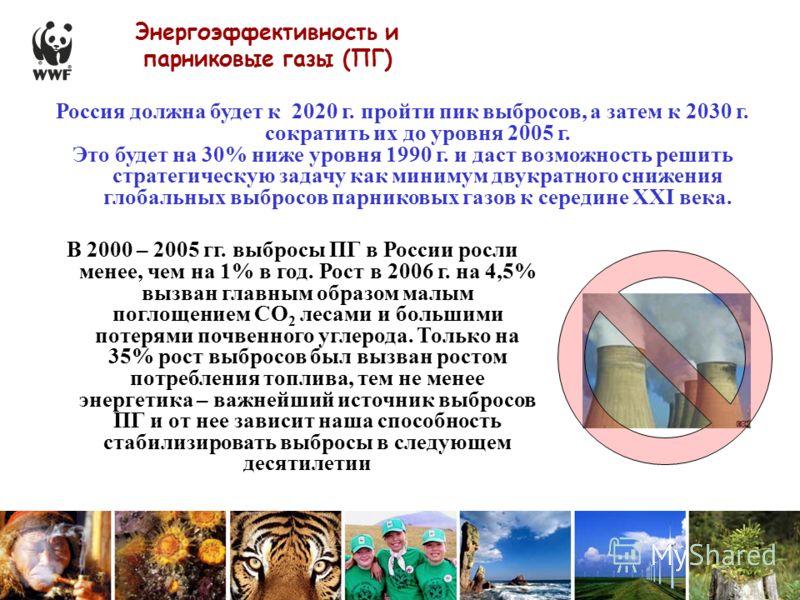 Энергоэффективность и парниковые газы (ПГ) В 2000 – 2005 гг. выбросы ПГ в России росли менее, чем на 1% в год. Рост в 2006 г. на 4,5% вызван главным образом малым поглощением СО 2 лесами и большими потерями почвенного углерода. Только на 35% рост выб