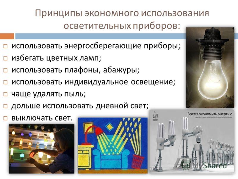 Принципы экономного использования осветительных приборов : использовать энергосберегающие приборы ; избегать цветных ламп ; использовать плафоны, абажуры ; использовать индивидуальное освещение ; чаще удалять пыль ; дольше использовать дневной свет ;