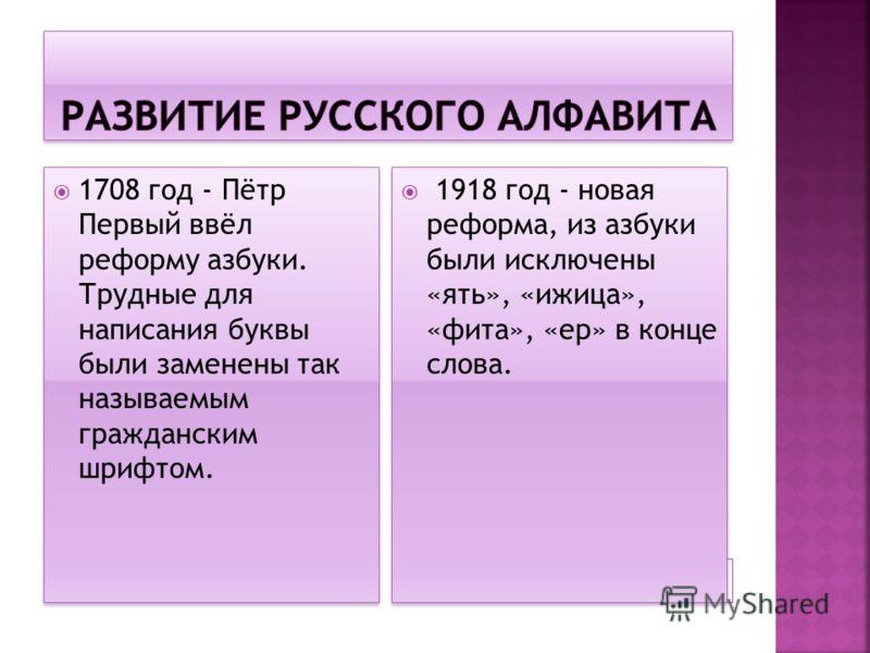 1708 год - Пётр Первый ввёл реформу азбуки. Трудные для написания буквы были заменены так называемым гражданским шрифтом. 1918 год - новая реформа, из азбуки были исключены «ять», «ижица», «фита», «ер» в конце слова.