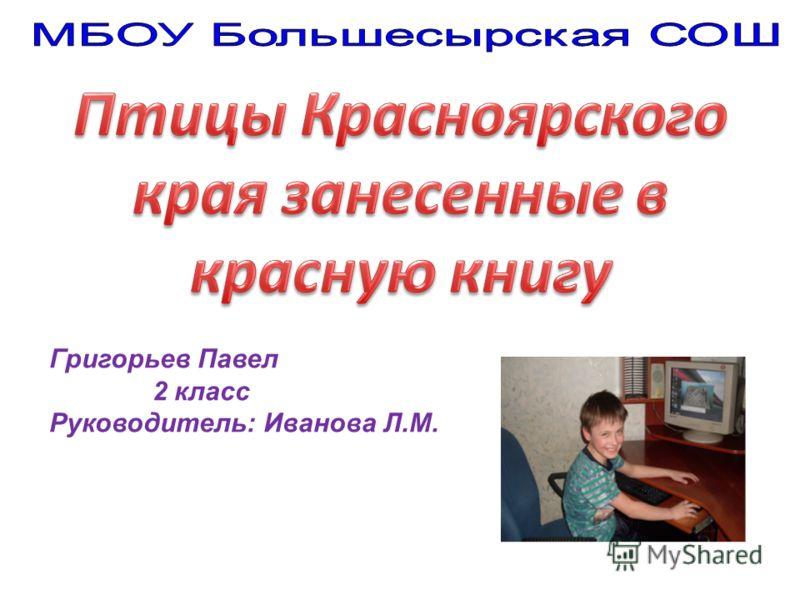 Григорьев Павел 2 класс Руководитель: Иванова Л.М.