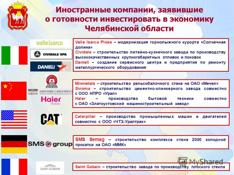 Иностранные компании, заявившие о готовности инвестировать в экономику Челябинской области Valle Isarco Plose – модернизация горнолыжного курорта «Солнечная долина» Cividale – строительство литейно-кузнечного завода по производству высококачественных