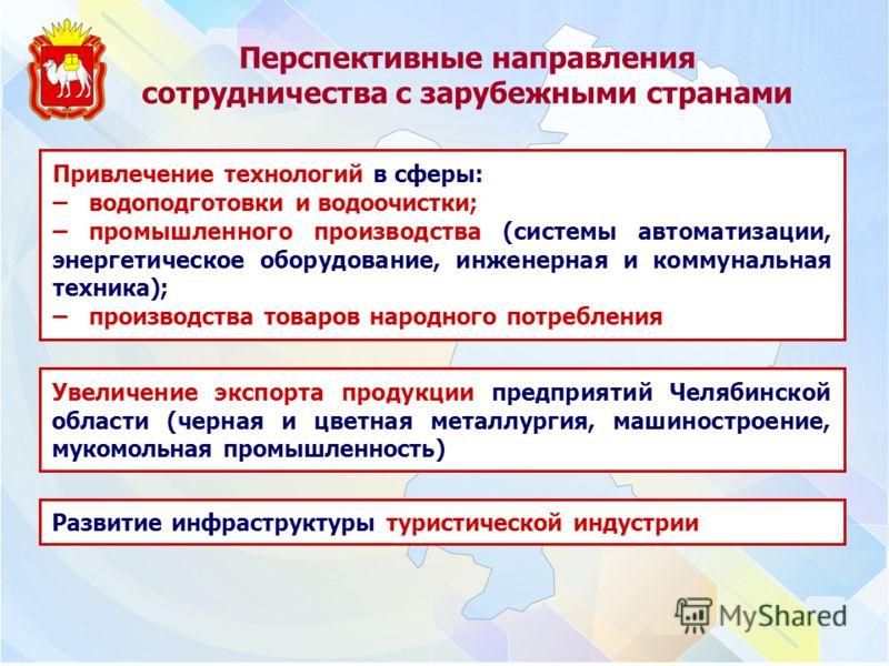 Перспективные направления сотрудничества с зарубежными странами Увеличение экспорта продукции предприятий Челябинской области (черная и цветная металлургия, машиностроение, мукомольная промышленность) Привлечение технологий в сферы: – водоподготовки