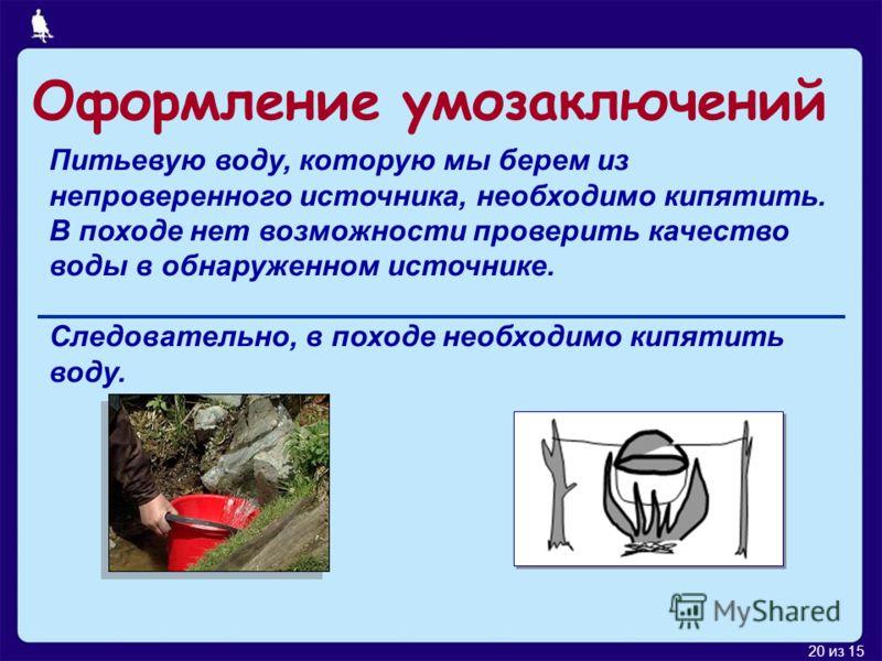 20 из 15 Питьевую воду, которую мы берем из непроверенного источника, необходимо кипятить. В походе нет возможности проверить качество воды в обнаруженном источнике. Следовательно, в походе необходимо кипятить воду. Оформление умозаключений