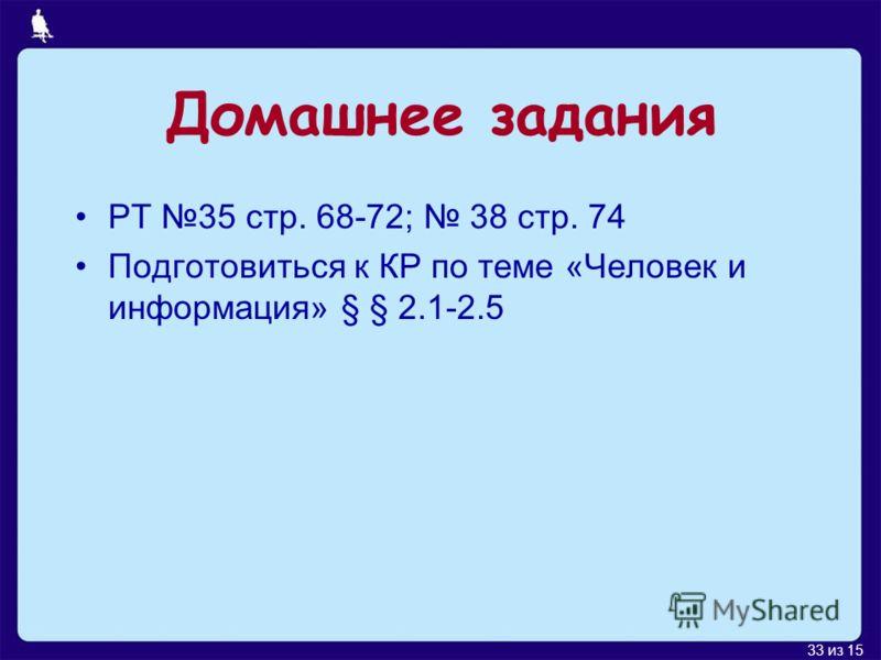 33 из 15 Домашнее задания РТ 35 стр. 68-72; 38 стр. 74 Подготовиться к КР по теме «Человек и информация» § § 2.1-2.5