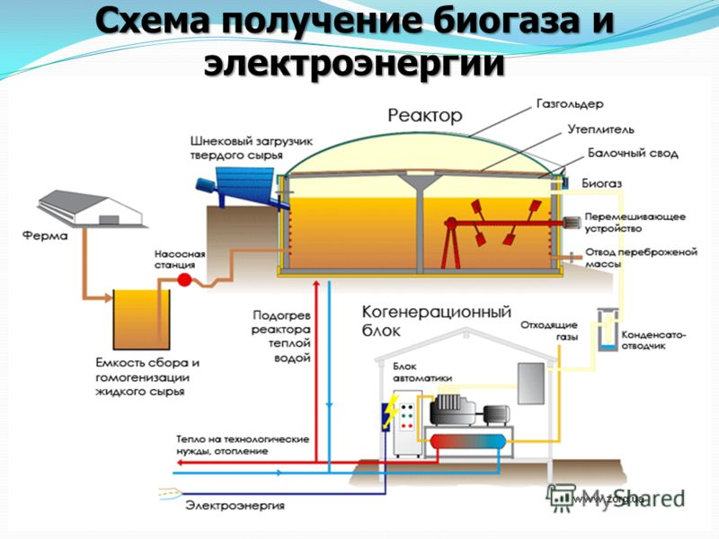 Получение биогаза с очистных сооружений Схема получение биогаза и электроэнергии