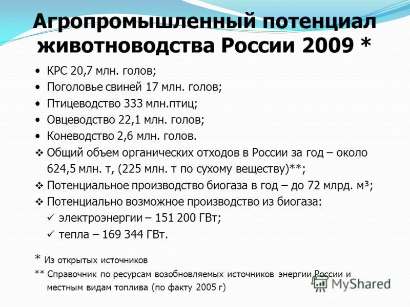 Агропромышленный потенциал животноводства России 2009 * КРС 20,7 млн. голов; Поголовье свиней 17 млн. голов; Птицеводство 333 млн.птиц; Овцеводство 22,1 млн. голов; Коневодство 2,6 млн. голов. Общий объем органических отходов в России за год – около