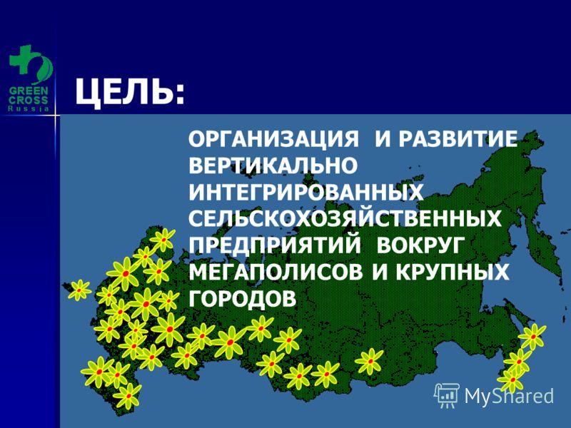Зелёный Крест (С) 2010 ЦЕЛЬ: ОРГАНИЗАЦИЯ И РАЗВИТИЕ ВЕРТИКАЛЬНО ИНТЕГРИРОВАННЫХ СЕЛЬСКОХОЗЯЙСТВЕННЫХ ПРЕДПРИЯТИЙ ВОКРУГ МЕГАПОЛИСОВ И КРУПНЫХ ГОРОДОВ