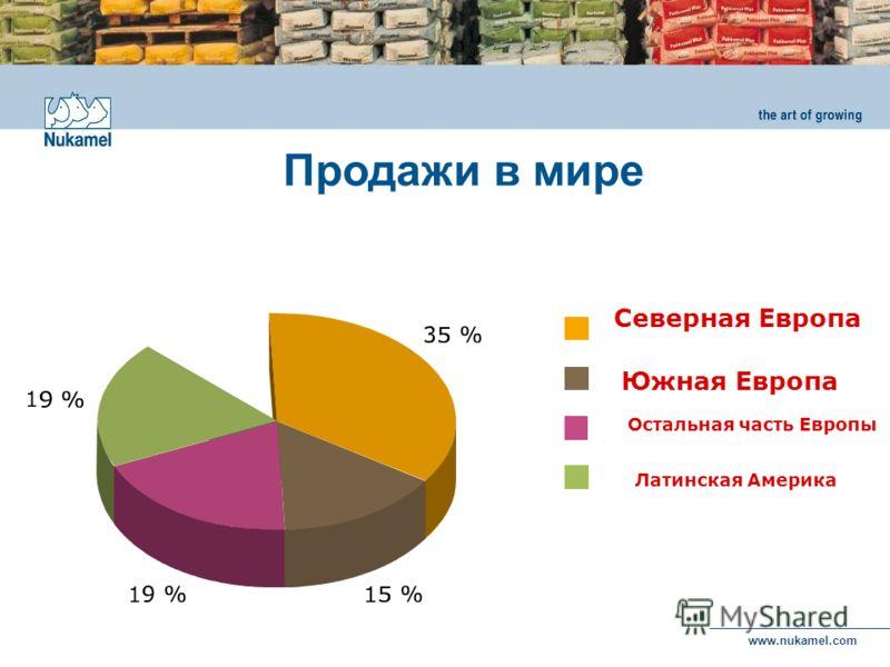 www.nukamel.com Латинская Америка Северная Европа Южная Европа Остальная часть Европы Продажи в мире