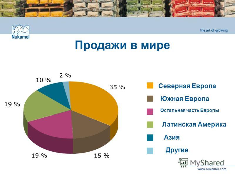 www.nukamel.com Латинская Америка Остальная часть Европы Южная Европа Северная Европа Азия Другие Продажи в мире
