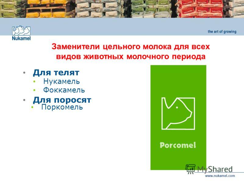 www.nukamel.com Для телят Нукамель Фоккамель Для поросят Поркомель Заменители цельного молока для всех видов животных молочного периода