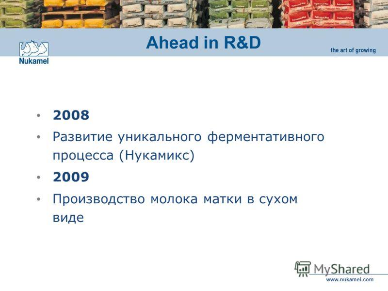 www.nukamel.com 2008 Развитие уникального ферментативного процесса (Нукамикс) 2009 Производство молока матки в сухом виде Ahead in R&D