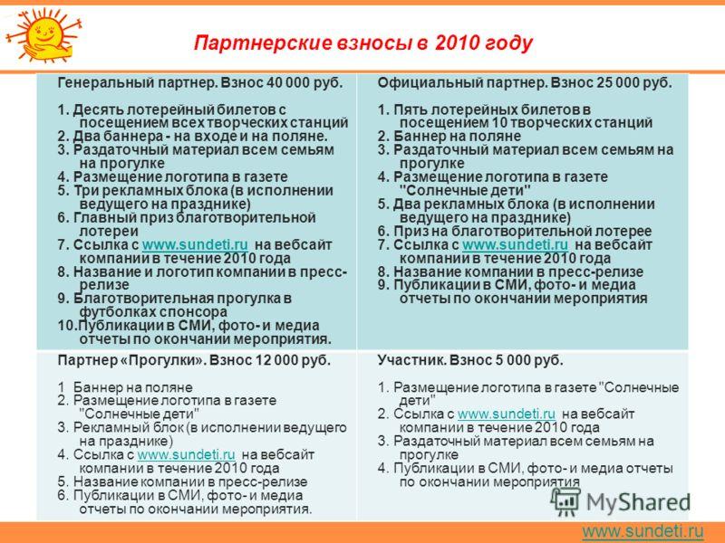 www.sundeti.ru Партнерские взносы в 2010 году Генеральный партнер. Взнос 40 000 руб. 1. Десять лотерейный билетов с посещением всех творческих станций 2. Два баннера - на входе и на поляне. 3. Раздаточный материал всем семьям на прогулке 4. Размещени