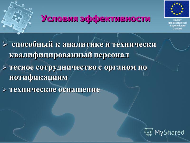 Условия эффективности способный к аналитике и технически квалифицированный персонал тесное сотрудничество с органом по нотификациям техническое оснащение способный к аналитике и технически квалифицированный персонал тесное сотрудничество с органом по