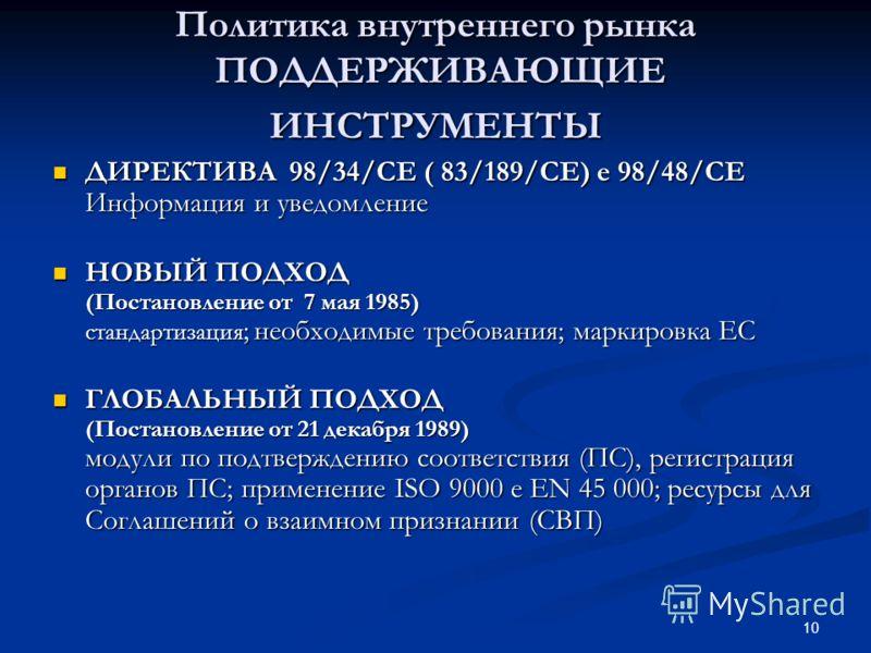 10 Политика внутреннего рынка ПОДДЕРЖИВАЮЩИЕ ИНСТРУМЕНТЫ ДИРЕКТИВА 98/34/CE ( 83/189/CE) e 98/48/CE Информация и уведомление ДИРЕКТИВА 98/34/CE ( 83/189/CE) e 98/48/CE Информация и уведомление НОВЫЙ ПОДХОД (Постановление от 7 мая 1985) стандартизация