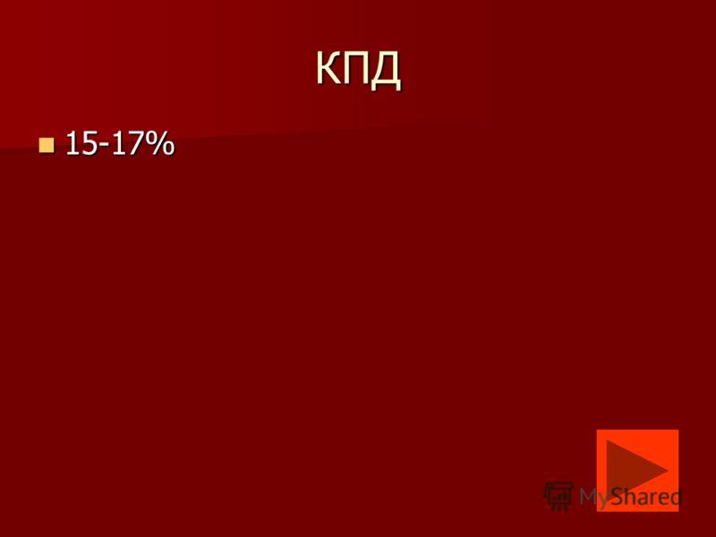 КПД 15-17% 15-17%
