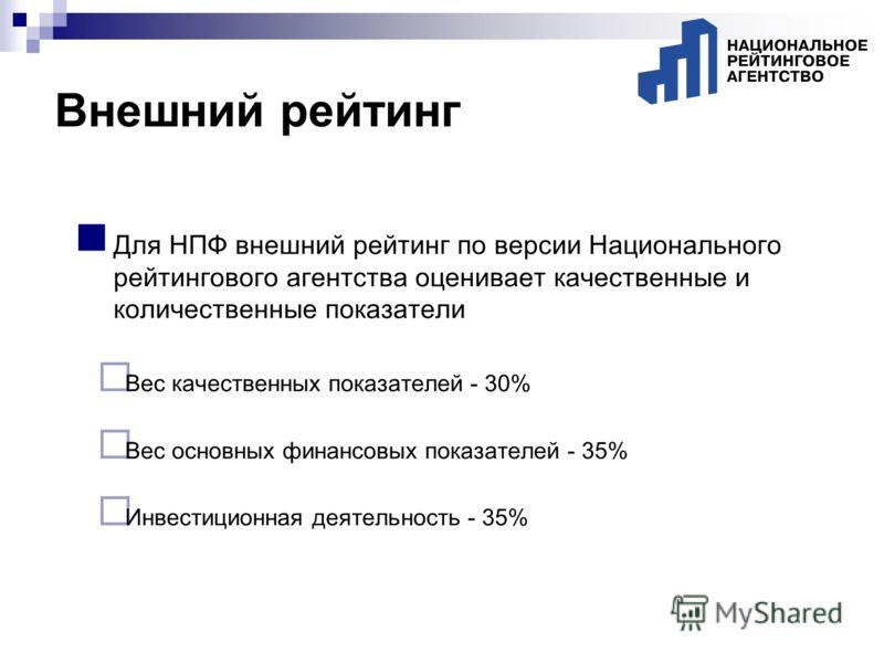 Для НПФ внешний рейтинг по версии Национального рейтингового агентства оценивает качественные и количественные показатели Вес качественных показателей - 30% Вес основных финансовых показателей - 35% Инвестиционная деятельность - 35%