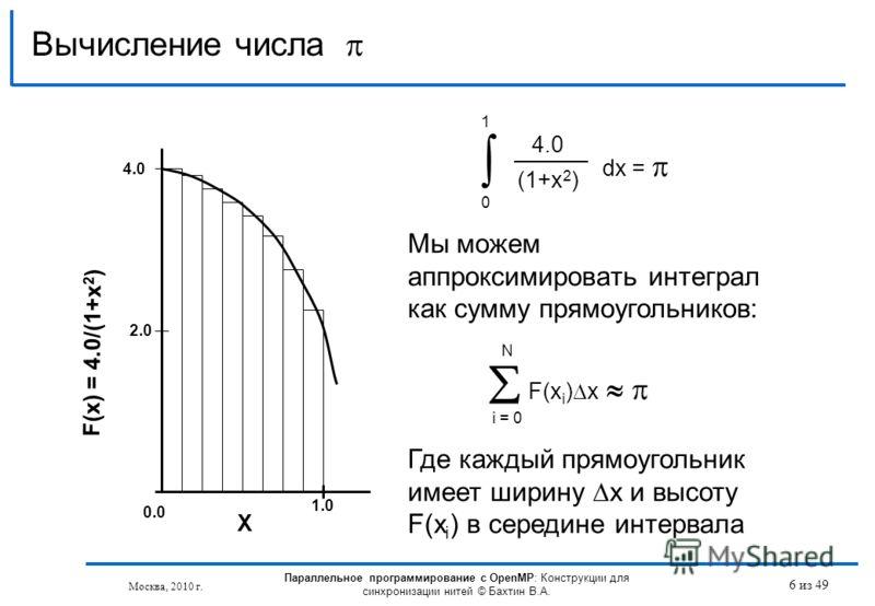 Вычисление числа 4.0 (1+x 2 ) dx = 0 1 F(x i ) x i = 0 N Мы можем аппроксимировать интеграл как сумму прямоугольников: Где каждый прямоугольник имеет ширину x и высоту F(x i ) в середине интервала F(x) = 4.0/(1+x 2 ) 4.0 2.0 1.0 X 0.0 6 из 49 Москва,