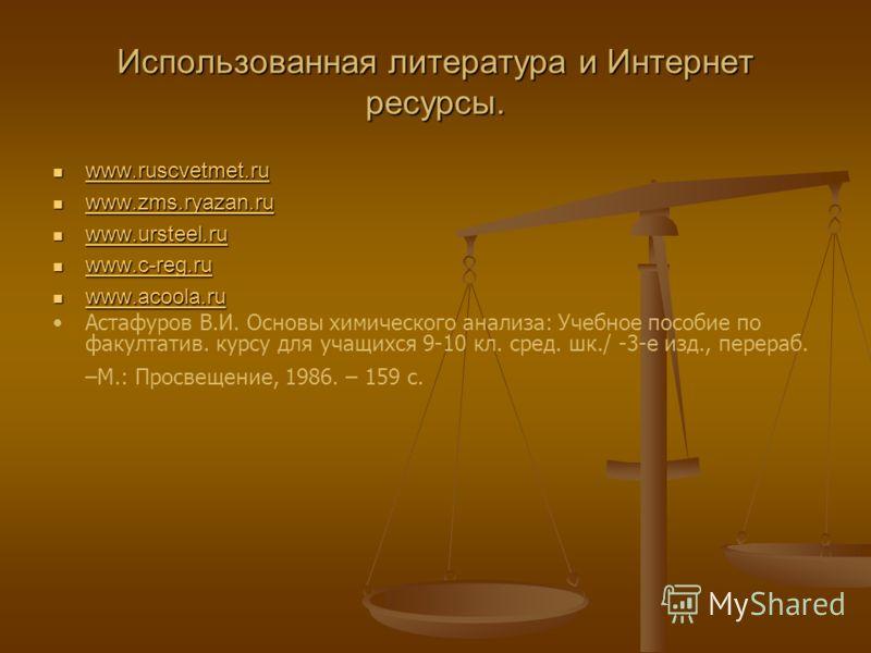 Использованная литература и Интернет ресурсы. www.ruscvetmet.ru www.ruscvetmet.ru www.ruscvetmet.ru www.zms.ryazan.ru www.zms.ryazan.ru www.zms.ryazan.ru www.ursteel.ru www.ursteel.ru www.ursteel.ru www.c-reg.ru www.c-reg.ru www.c-reg.ru www.acoola.r