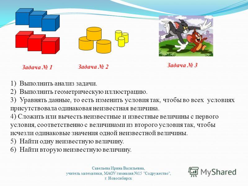 Задача 1 Задача 2 Задача 3 1) Выполнить анализ задачи. 2) Выполнить геометрическую иллюстрацию. 3) Уравнять данные, то есть изменить условия так, чтобы во всех условиях присутствовала одинаковая неизвестная величина. 4) Сложить или вычесть неизвестны