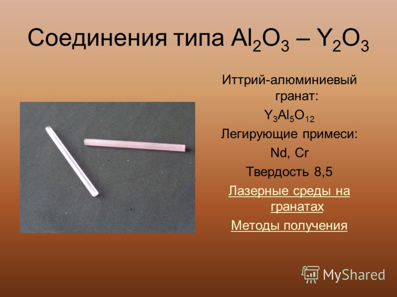 Соединения типа Al 2 O 3 – Y 2 O 3 Иттрий-алюминиевый гранат: Y 3 Al 5 O 12 Легирующие примеси: Nd, Cr Твердость 8,5 Лазерные среды на гранатах Методы получения