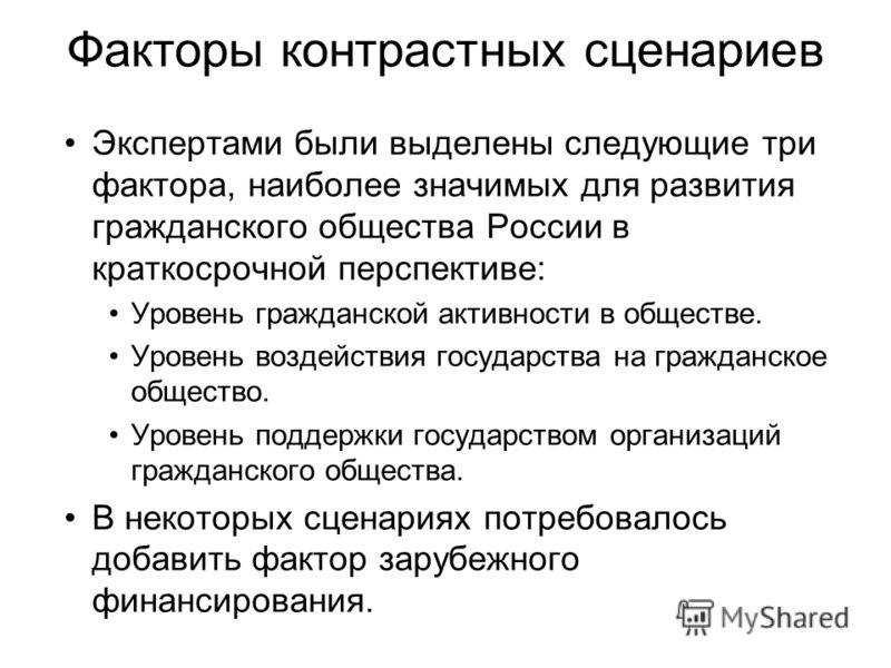 Факторы контрастных сценариев Экспертами были выделены следующие три фактора, наиболее значимых для развития гражданского общества России в краткосрочной перспективе: Уровень гражданской активности в обществе. Уровень воздействия государства на гражд