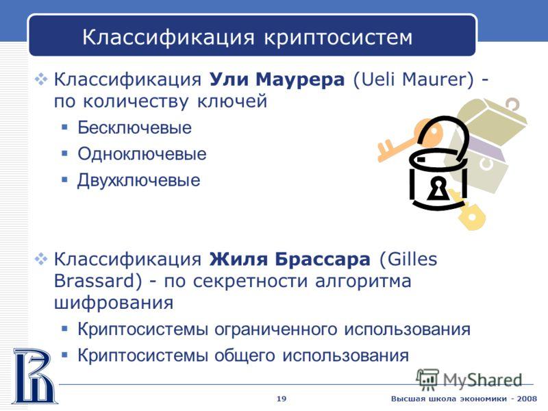 Высшая школа экономики - 200819 Классификация криптосистем Классификация Ули Маурера (Ueli Maurer) - по количеству ключей Бесключевые Одноключевые Двухключевые Классификация Жиля Брассара (Gilles Brassard) - по секретности алгоритма шифрования Крипто