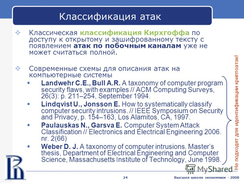 Высшая школа экономики - 200824 Классификация атак Классическая классификация Кирхгоффа по доступу к открытому и зашифрованному тексту с появлением атак по побочным каналам уже не может считаться полной. Современные схемы для описания атак на компьют