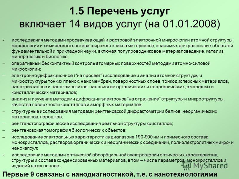 1.5 Перечень услуг включает 14 видов услуг (на 01.01.2008) - исследования методами просвечивающей и растровой электронной микроскопии атомной структуры, морфологии и химического состава широкого класса материалов, значимых для различных областей фунд