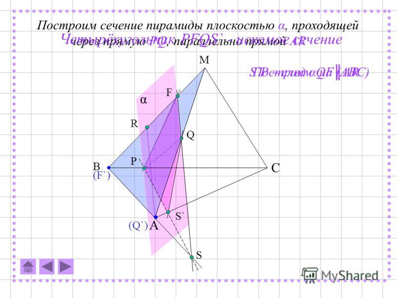 KL – след α на (ABC) TL - след α на (AEE')FC'' - след α на (CDD') многоугольник KLTFC'' - искомое сечение C''K - след α на (BCC') A B C D E A` B` C` D` E` P Q K L F T S` C`` α Построим сечение призмы плоскостью α, проходящей через прямую PQ, параллел