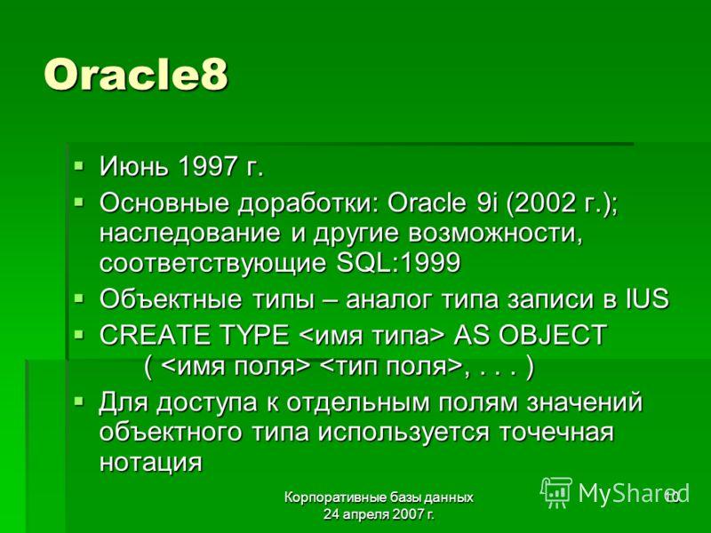 Корпоративные базы данных 24 апреля 2007 г. 10 Oracle8 Июнь 1997 г. Июнь 1997 г. Основные доработки: Oracle 9i (2002 г.); наследование и другие возможности, соответствующие SQL:1999 Основные доработки: Oracle 9i (2002 г.); наследование и другие возмо