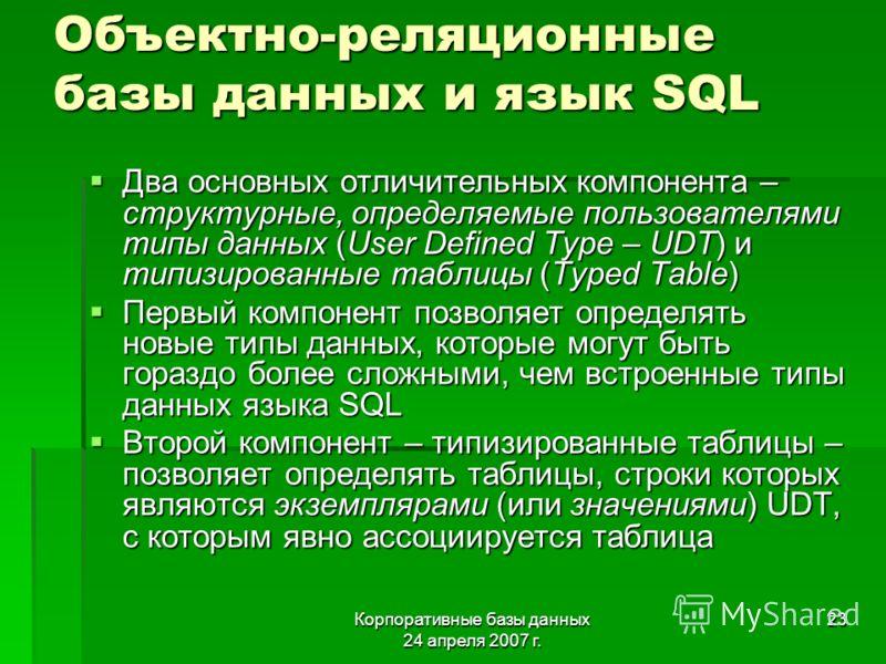 Корпоративные базы данных 24 апреля 2007 г. 23 Объектно-реляционные базы данных и язык SQL Два основных отличительных компонента – структурные, определяемые пользователями типы данных (User Defined Type – UDT) и типизированные таблицы (Typed Table) Д