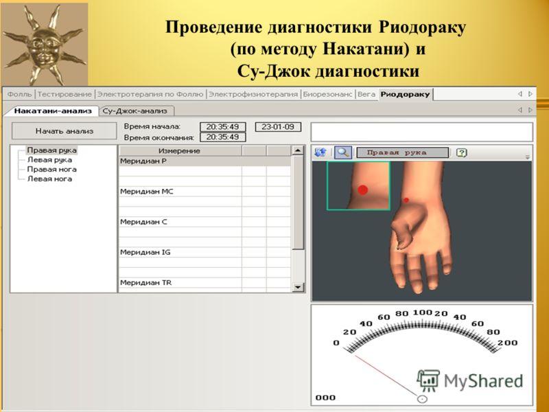 Проведение диагностики Риодораку (по методу Накатани) и Су-Джок диагностики