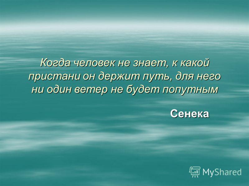 Когда человек не знает, к какой пристани он держит путь, для него ни один ветер не будет попутным Сенека