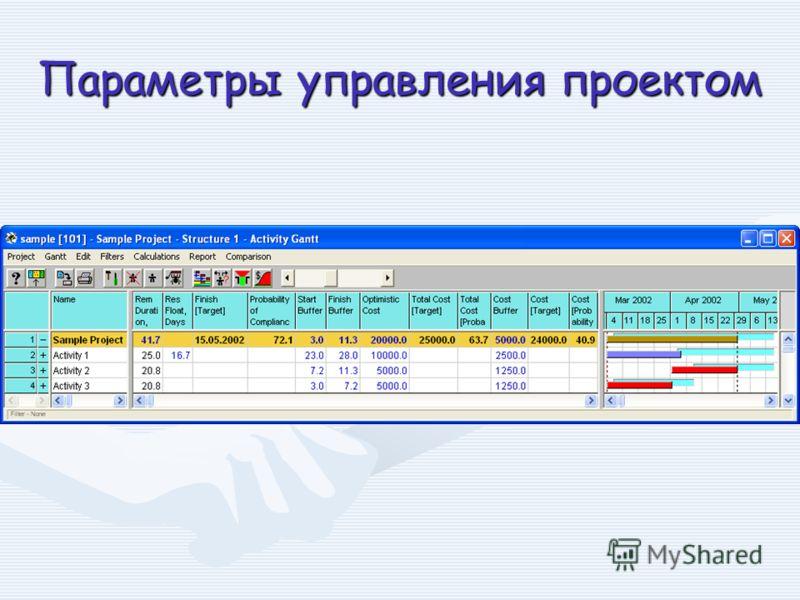 Параметры управления проектом
