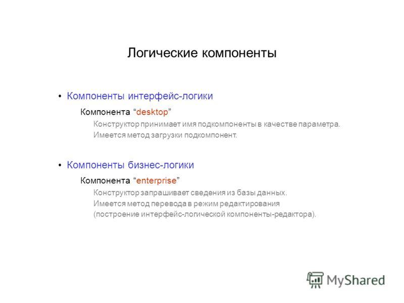 Логические компоненты Компоненты интерфейс-логики Компонента desktop Конструктор принимает имя подкомпоненты в качестве параметра. Имеется метод загрузки подкомпонент. Компоненты бизнес-логики Компонента enterprise Конструктор запрашивает сведения из