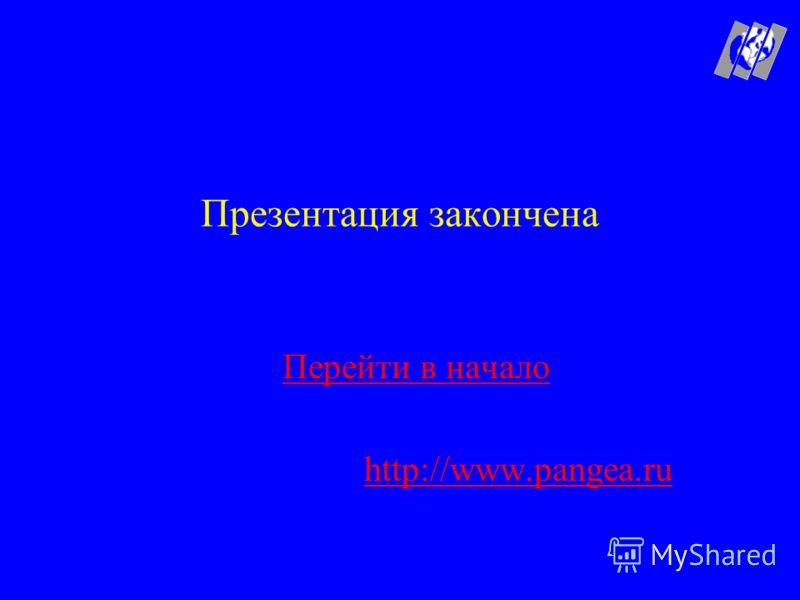 Презентация закончена Перейти в начало http://www.pangea.ru