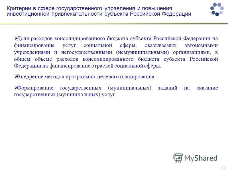 62 Критерии в сфере государственного управления и повышения инвестиционной привлекательности субъекта Российской Федерации Доля расходов консолидированного бюджета субъекта Российской Федерации на финансирование услуг социальной сферы, оказываемых ав