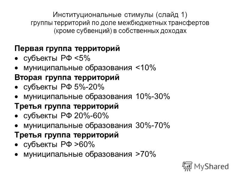 Институциональные стимулы (слайд 1) группы территорий по доле межбюджетных трансфертов (кроме субвенций) в собственных доходах Первая группа территорий субъекты РФ 70%