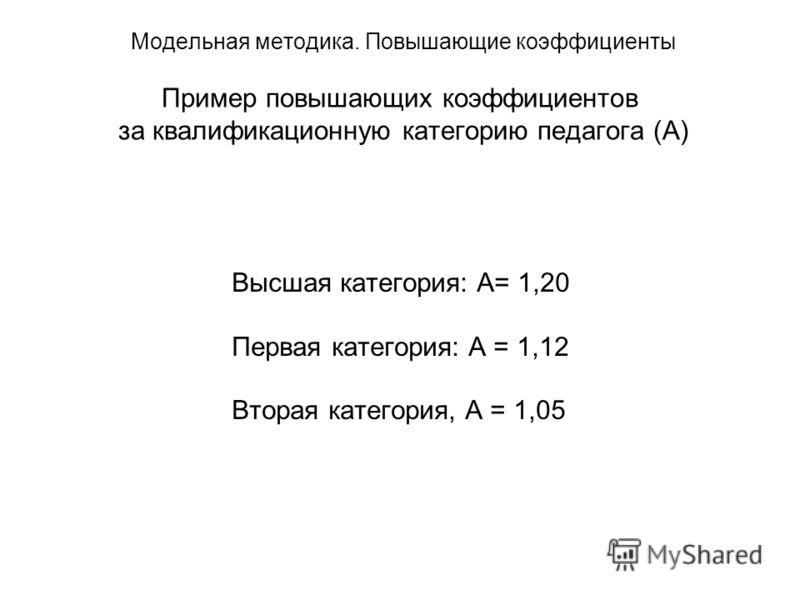 Модельная методика. Повышающие коэффициенты Пример повышающих коэффициентов за квалификационную категорию педагога (А) Высшая категория: А= 1,20 Первая категория: А = 1,12 Вторая категория, А = 1,05