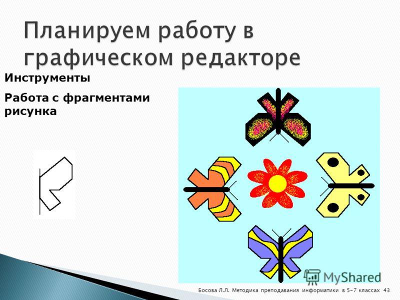 Инструменты Работа с фрагментами рисунка 43Босова Л.Л. Методика преподавания информатики в 5-7 классах