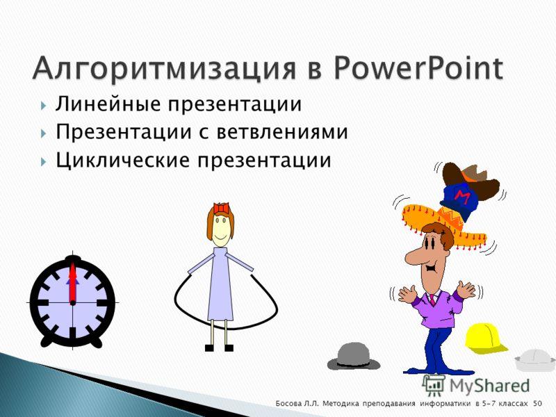 Линейные презентации Презентации с ветвлениями Циклические презентации 50Босова Л.Л. Методика преподавания информатики в 5-7 классах
