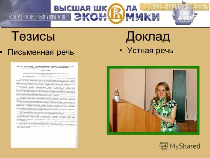Тезисы Доклад Письменная речь Устная речь