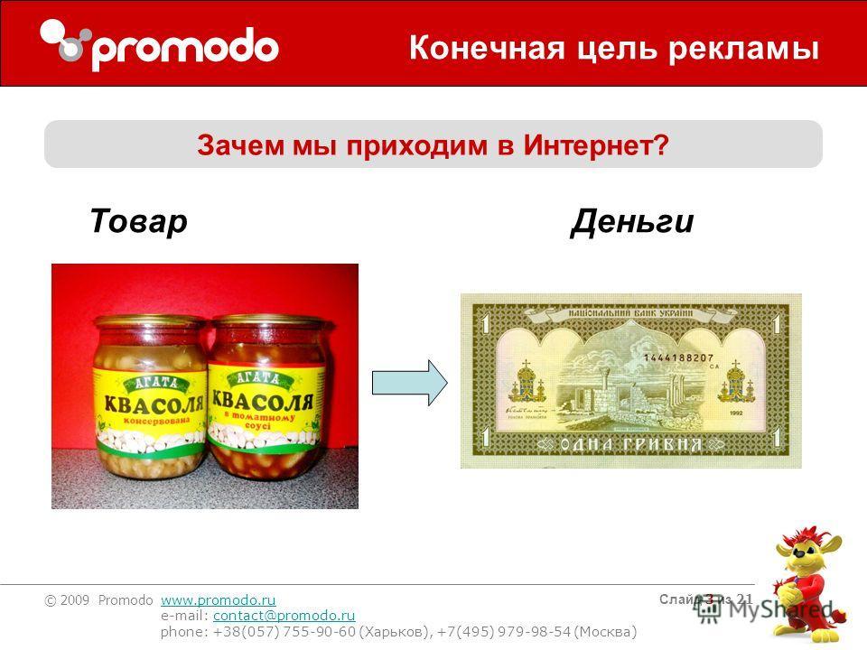 © 2009 Promodo www.promodo.ru e-mail: contact@promodo.rucontact@promodo.ru phone: +38(057) 755-90-60 (Харьков), +7(495) 979-98-54 (Москва) Слайд 3 из 21 Конечная цель рекламы Зачем мы приходим в Интернет? Товар Деньги