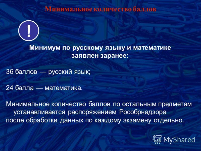 Минимальное количество баллов Минимум по русскому языку и математике заявлен заранее: 36 баллов русский язык; 24 балла математика. Минимальное количество баллов по остальным предметам устанавливается распоряжением Рособрнадзора после обработки данных