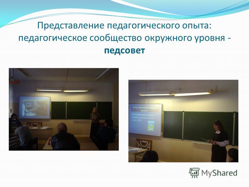 Представление педагогического опыта: педагогическое сообщество окружного уровня - педсовет