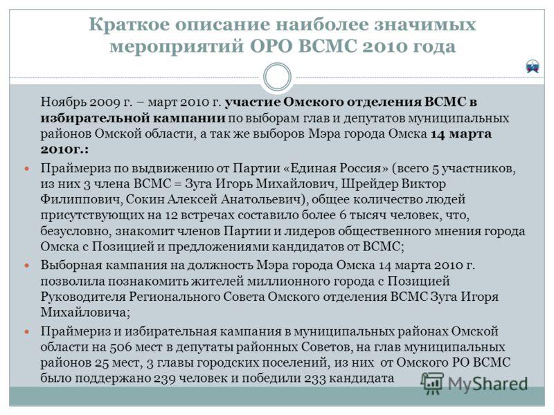 Краткое описание наиболее значимых мероприятий ОРО ВСМС 2010 года Ноябрь 2009 г. – март 2010 г. участие Омского отделения ВСМС в избирательной кампании по выборам глав и депутатов муниципальных районов Омской области, а так же выборов Мэра города Омс