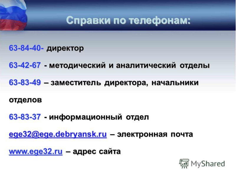 63-84-40- директор 63-42-67 - методический и аналитический отделы 63-83-49 – заместитель директора, начальники отделов 63-83-37 - информационный отдел ege32@ege.debryansk.ru – электронная почта www.ege32.ru – адрес сайта Справки по телефонам: